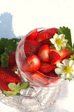 Strawberry. Glass cup with friuts, left and flowers of strawberry Royalty Free Stock Photography
