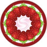 Strawberry. Many big strawberry on circle label with yoghurt Stock Photo