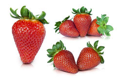 Strawberry. Sets with path on white background Royalty Free Stock Photography