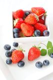 Strawberry. With blueberry in the white bowl Royalty Free Stock Photography