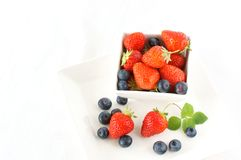 Strawberry. With blueberry in the white bowl Royalty Free Stock Photos