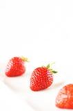 Strawberry. On the white platel Stock Photos