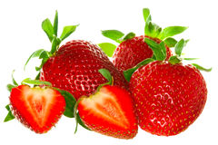 Strawberry. Close up of a strawberries. Isolated over white Royalty Free Stock Photos