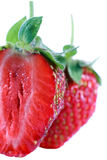 Strawberry. Isolated on white background detail view royalty free stock image