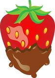 Strawberry. Sweet strawberry with chocolate backround Royalty Free Stock Photo
