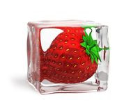 Strawberry. Frozen in ice cube Royalty Free Stock Photos