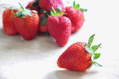 Strawberry. The fresh strawberry in the wooden board Royalty Free Stock Photos