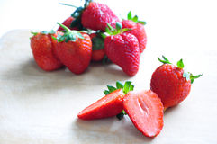 Strawberry. The fresh strawberry in the wooden board Royalty Free Stock Photo