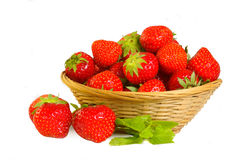Strawberry. Basket with strawberry on white background Stock Images