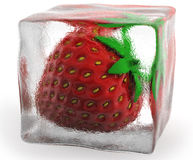 Strawberry. Frozen in clear ice Royalty Free Stock Photos