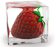 Strawberry. Frozen in clear ice Royalty Free Stock Photo