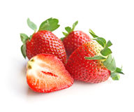 Strawberry. Group of three and half strawberry for healthy eating concepts Royalty Free Stock Image