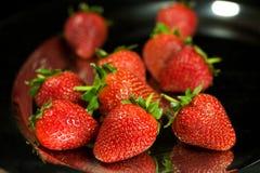 Strawberry. Fresh Strawberry on black background Stock Photos