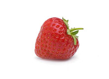 Strawberry. A single red Strawberry with stalk on clean white background with shadow Stock Images