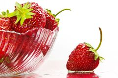 Strawberry. In plate on white background Stock Photography