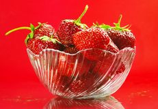 Strawberry. In plate on red background Stock Images
