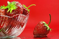Strawberry. In plate on red background Stock Photos
