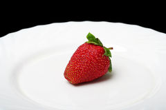 The strawberry. An appetizing strawberry on a white plate at the black background Royalty Free Stock Photos