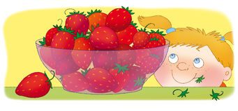Strawberry. Bowl with red strawberries and girl Royalty Free Stock Photography