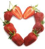 Strawberry. Hot heart fom ripe strawberry stock photos