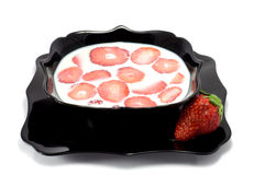 Strawberry. This is a composition of strawberry dessert with milk Stock Photography