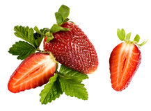 Strawberry. Some strawberries and leaves with white background Royalty Free Stock Photos