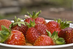 Strawberry. A sweet, delicious berry is a strawberry, lies on a dish Stock Photo