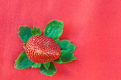 Strawberry from Above with Green Leaves on Red Royalty Free Stock Image
