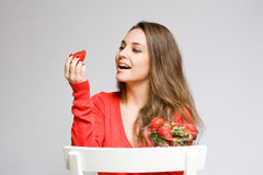 Strawberry admiration. Royalty Free Stock Photos