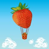 Strawberry air balloon Royalty Free Stock Images