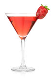Strawberry alcohol cocktail in martini glass Stock Photos