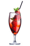 Strawberry alcoholic cocktail. Strawberry cocktail. Summer refreshing cocktail with straws Stock Photography