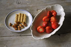 Strawberry and almond Stock Photo