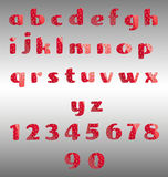 Strawberry alphabet and numbers. Vector illustration of red strawberry alphabet and numbers on the metallic background Royalty Free Stock Image