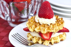 Strawberry And Cream Waffles Stock Photos