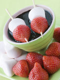 Strawberry And Marshmallow Sticks Stock Images