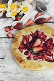 Strawberry, apple and meringue galette Royalty Free Stock Image