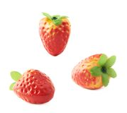 Strawberry artificial plastic decoration isolated Stock Photo