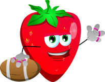 Strawberry as American football player Royalty Free Stock Images