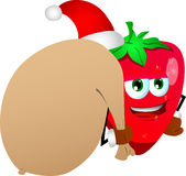 Strawberry as Santa Claus with a big sack Royalty Free Stock Photo