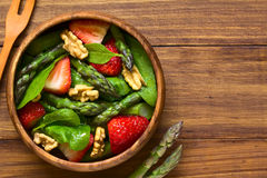 Strawberry, Asparagus, Spinach, Walnut Salad Royalty Free Stock Photography