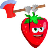 Strawberry with an axe Stock Photography