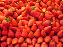Strawberry background. Fruit and vegetables on a market - Mercat de la boqueria (La Rambla), Barcelona Stock Photo