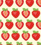 Strawberry background. Seamless  background with an appetizing strawberry on a yellow background Royalty Free Stock Images