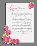 Strawberry background blank page vector Royalty Free Stock Images