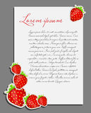 Strawberry background blank page vector Royalty Free Stock Photos