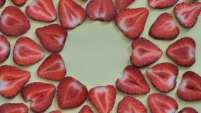 Strawberry background motion design video. wiggle color texture close up stock video