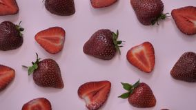 Strawberry background motion design video. wiggle color texture close up stock video footage