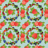 Strawberry background. Seamless pattern with illustration of strawberry and various berry Royalty Free Stock Photos