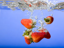 Strawberry Background in Water Stock Photography
